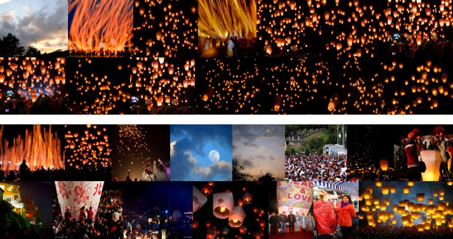 "Figure 1: Example of retrieval and diversification results for query ""Pingxi Sky Lantern Festival"" (results are truncated to the first 14 images for better visualization): (top images) Flickr initial retrieval results; (bottom images) diversification achieved with the approach from the TUW team (best approach at MediaEval 2015)."