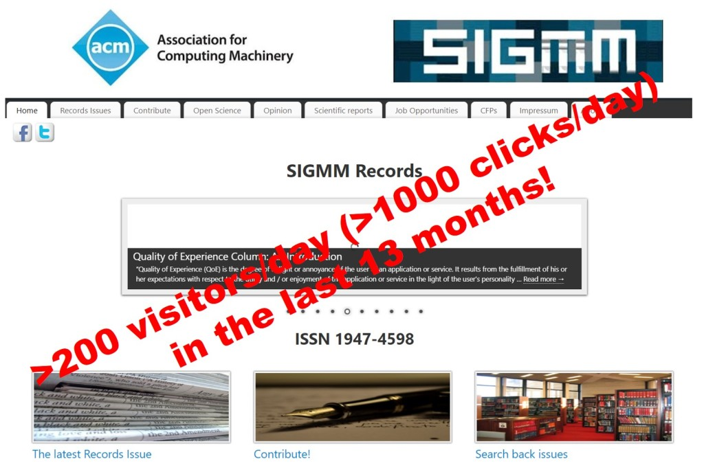 SIGMM Records: News, Statistics, and Call for Contributions & Suggestions