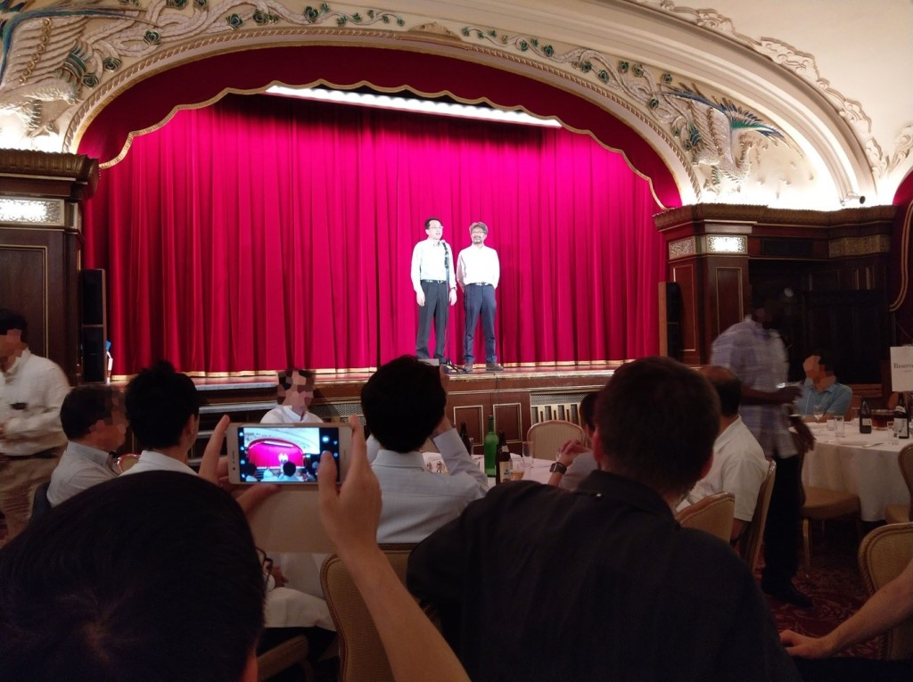 Kiyoharu Aizawa and Shin'ichi Satoh, two of the ICMR 2018 General co-Chairs welcoming attendees to the ICMR 2018 Banquet at the historical Hotel New Grand.